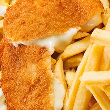 Cascaval pane cu cartofi prajiti – 150g/200gr
